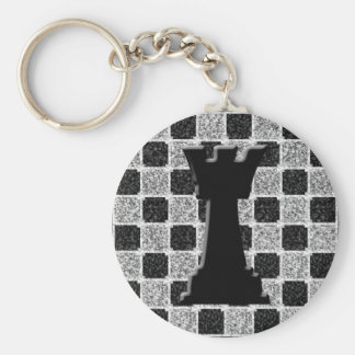 Chess Game Rook and Board Basic Round Button Keychain