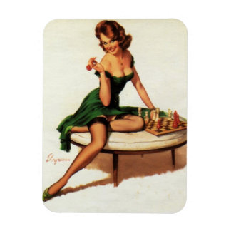 Chess Girl Pin Up Rectangular Photo Magnet