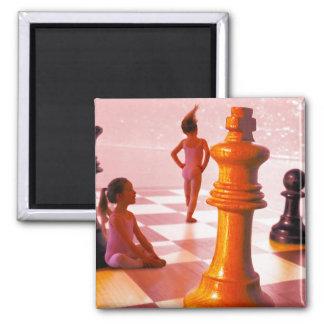 Chess Girls Square Magnet