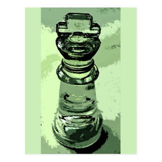 Chess, Glass King, Green Background, Outlined Postcard