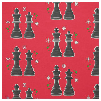 Chess King and Queen at Christmas. Fabric