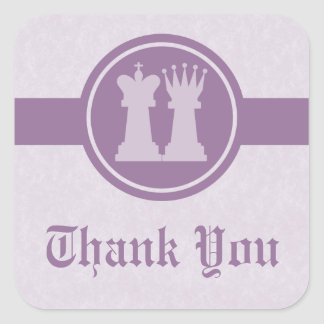Chess King and Queen Thank You Stickers, Purple
