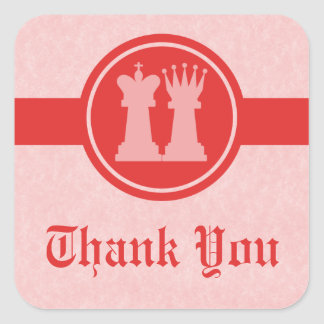 Chess King and Queen Thank You Stickers, Red