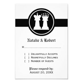 """Chess King and Queen Wedding Response Card 3.5"""" X 5"""" Invitation Card"""
