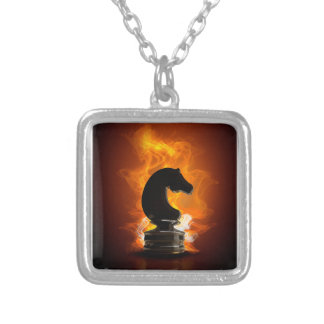 Chess Knight in Flames Silver Plated Necklace