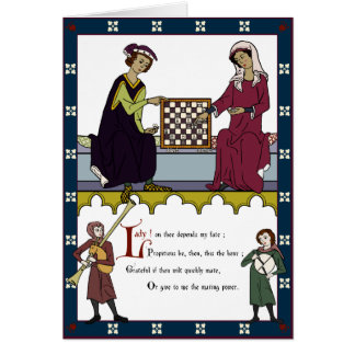 """Chess Lovers' Valentine (""""brown"""" edition) Card"""