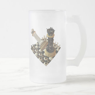 Chess Maniac Frosted Glass Beer Mug