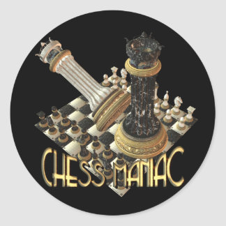 Chess Maniac Round Sticker