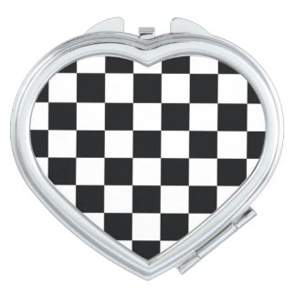 Chess Pattern Black White Heart Cool Minimal Chic Vanity Mirror