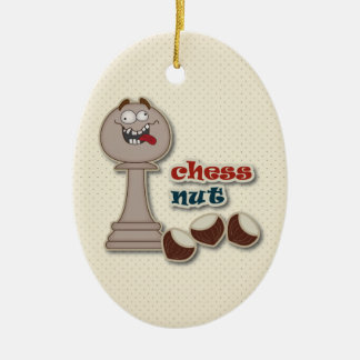 Chess Pawn, Chess Nuts and Chestnuts Ceramic Oval Ornament