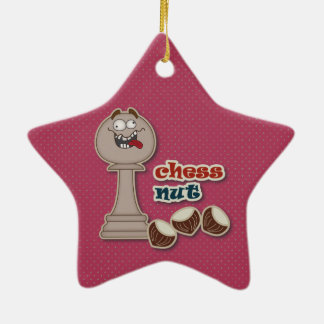 Chess Pawn, Chess Nuts and Chestnuts Ceramic Star Ornament