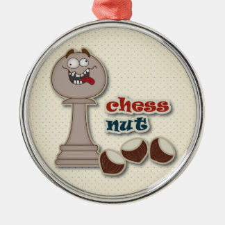 Chess Pawn, Chess Nuts and Chestnuts Silver-Colored Round Ornament