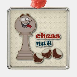 Chess Pawn, Chess Nuts and Chestnuts Silver-Colored Square Ornament