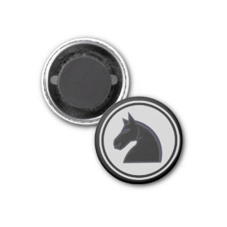Chess Piece Black Knight 1 Inch Round Magnet