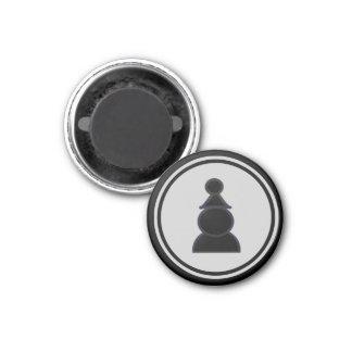Chess Piece Black Pawn 1 Inch Round Magnet