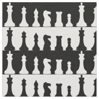 Chess Pieces Silhouette Fabric