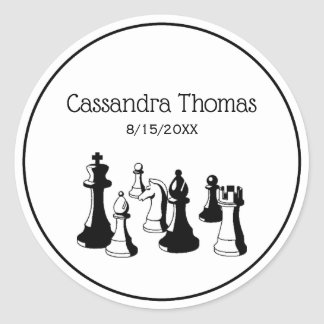 Chess Pieces Vintage Art #2 Classic Round Sticker