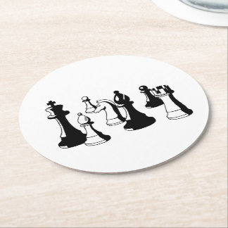 Chess Pieces Vintage Art #2 Round Paper Coaster