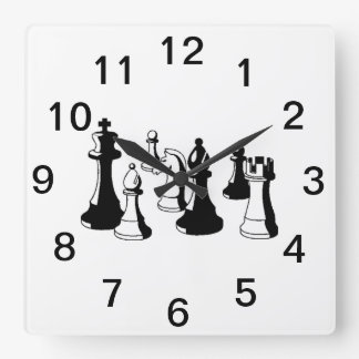 Chess Pieces Vintage Art #2 Square Wall Clock