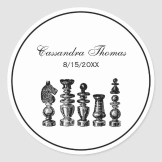 Chess Pieces Vintage Art Classic Round Sticker