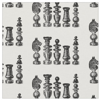 Chess Pieces Vintage Art Fabric