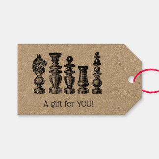 Chess Pieces Vintage Art Gift Tags