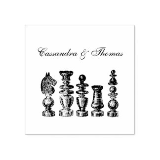 Chess Pieces Vintage Art Rubber Stamp