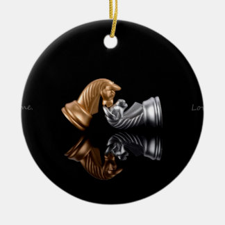 Chess Play Game Round Ceramic Ornament