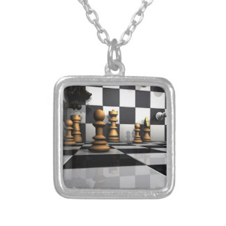 Chess Play King Silver Plated Necklace