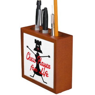 Chess Player for Life Cartoon Pencil Holder