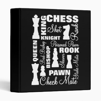 Chess Players Typography Design 3 Ring Binder