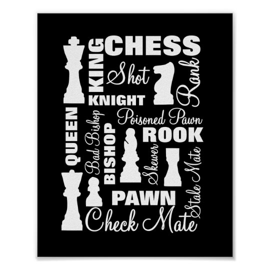 Chess Players Typography Design Poster