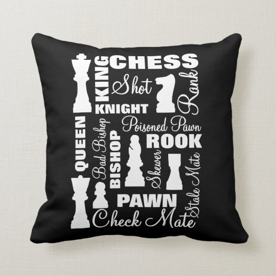 Chess Players Typography Design Throw Pillow