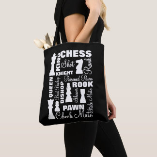 Chess Players Typography Design Tote Bag