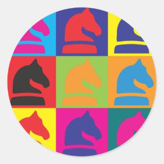 Chess Pop Art Round Sticker