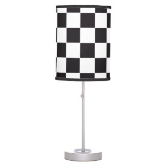 Chess Square Pattern - black + your background Desk Lamp