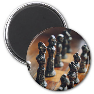 Chess Themed, Antique Vintage Chessman Set In Wood 2 Inch Round Magnet