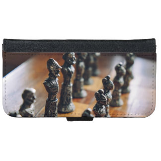 Chess Themed, Antique Vintage Chessman Set In Wood iPhone 6 Wallet Case