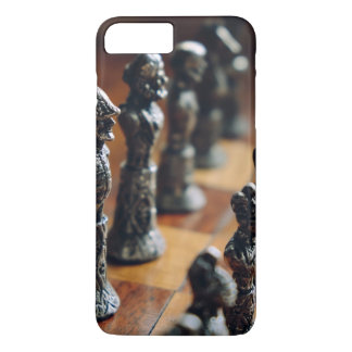 Chess Themed, Antique Vintage Chessman Set In Wood iPhone 7 Plus Case