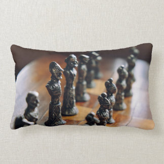 Chess Themed, Antique Vintage Chessman Set In Wood Lumbar Pillow