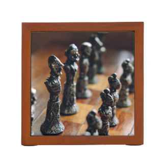 Chess Themed, Antique Vintage Chessman Set In Wood Pencil Holder