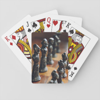 Chess Themed, Antique Vintage Chessman Set In Wood Poker Deck