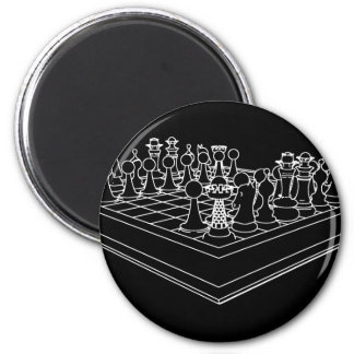 Chessboard & Chess Pieces: 2 Inch Round Magnet