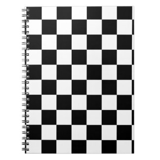 chessboard pattern black and white notebook