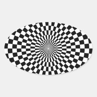 Chessboard sample oval sticker