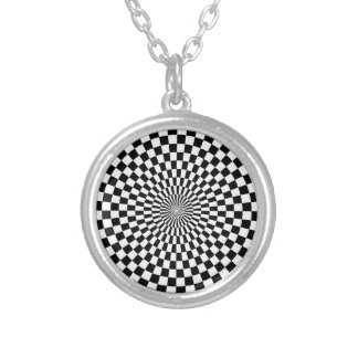Chessboard sample silver plated necklace