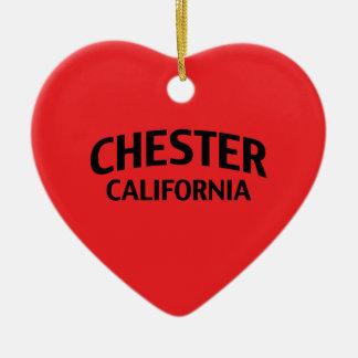 Chester California Ceramic Heart Ornament