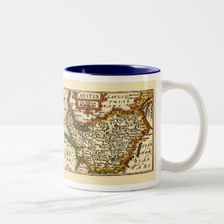 """""""Chester"""" Cheshire, County Map, England Coffee Mugs"""