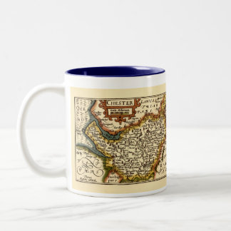 """""""Chester"""" Cheshire, County Map, England Two-Tone Coffee Mug"""