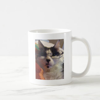 Chester the cat wearing glasses coffee mug